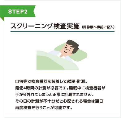自宅等で検査機器を装着して就寝・計測。 最低4時間の計測が必要です。睡眠中に検査機器が手から外れてしまうと正常に計測されません。その日の計測が不十分だと心配される場合は翌日再度検査を行うことが可能です。